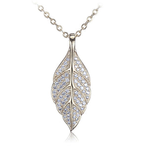 Sterling Silver Yellow Gold Plated Pave Cubic Zirconia Maile Leaf Pendant(Chain Sold Separately)