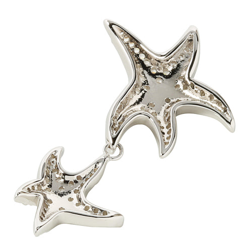 Sterling Silver Rhodium Double Starfish Pave CZ Pendant