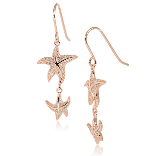 Pink Gold Plated Sterling Silver Double Starfish Pave CZ Hook Earring