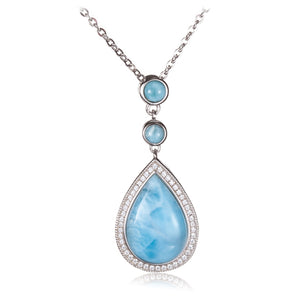 Sterling Silver Larimar Water Drop Pendant with Cubic Zirconia Inlay(Chain Sold Separately)
