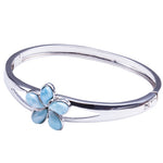 Sterling Silver Larimar Bangle 20mm Plumeria in the Center