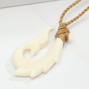 Buffalo Bone Fish Hook Necklace w/Whale Tail 30x55mm