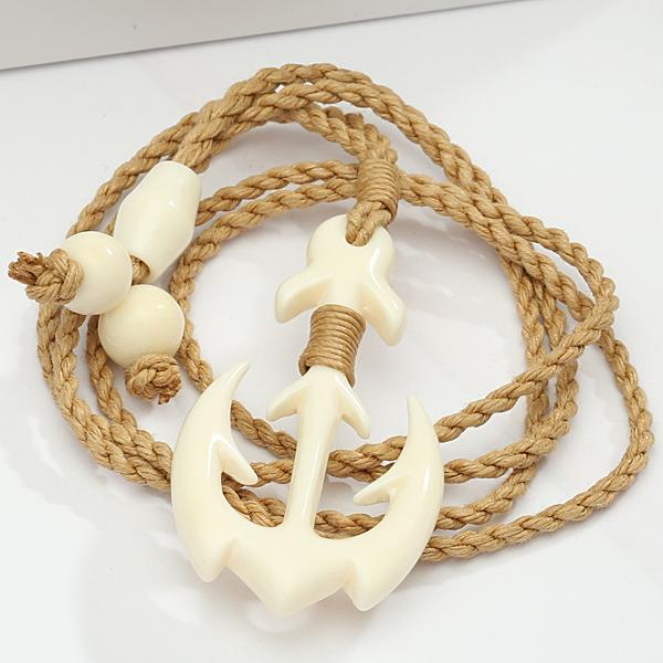 Buffalo Bone Anchor Necklace Brown Cord 25x47mm