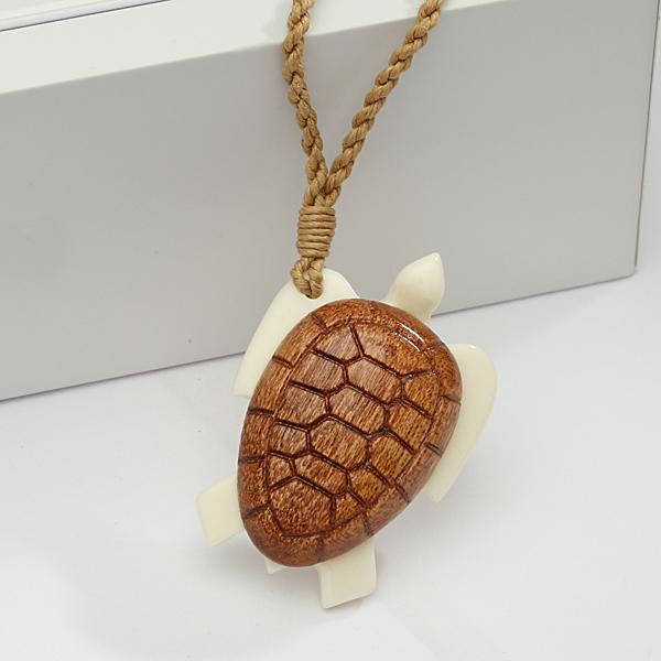 Koa Wood Buffalo Bone Turtle Necklace Brown Cord 28x40mm