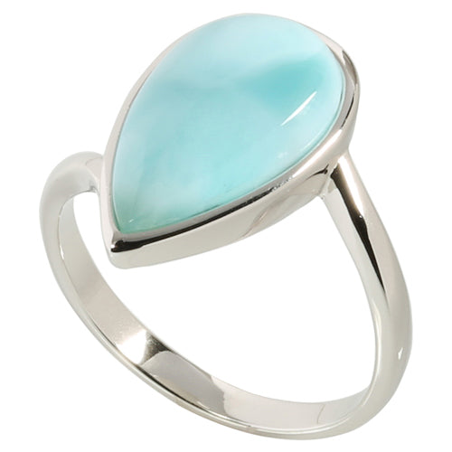 Sterling Silver Larimar Water Drop Ring