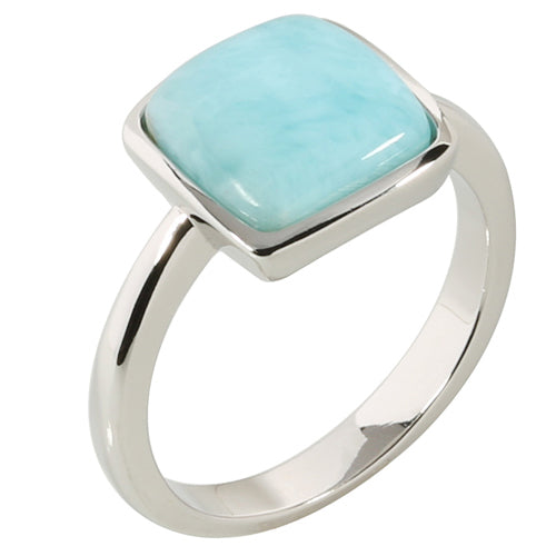 Sterling Silver Diamond Shape Larimar Ring