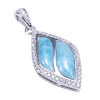Diamond Shape Larimar Sterling Silver Pendant Pave Cubic Zirconia(Chain Sold Separately)