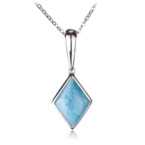 Diamond Shape Larimar Inlay Sterling Silver Pendant(Chain Sold Separately)