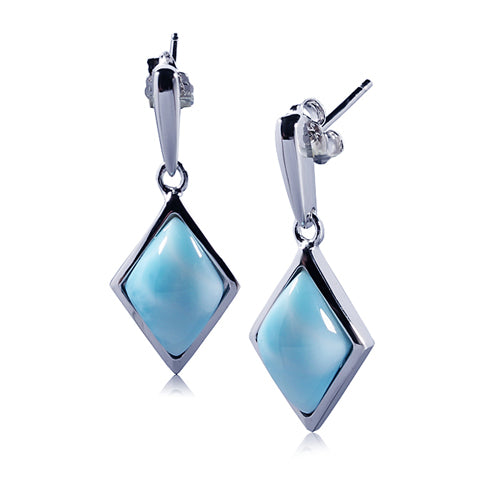 Diamond Shape Larimar Inlay Sterling Silver Stud Earring