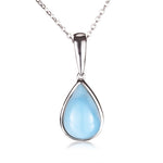 Water Drop Shape Larimar Inlay Sterling Silver Pendant(Chain Sold Separately)