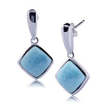 Larimar Inlay Diamond Shape Sterling Silver Stud Earring