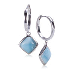 Larimar Inlay Diamond Shape Sterling Silver Hoop Earring