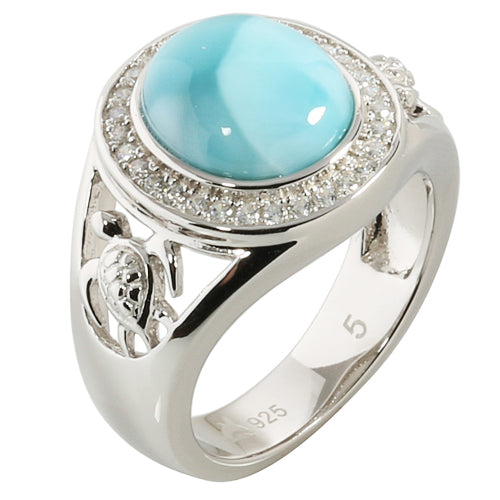 Sterling Silver Oval Larimar Inlaid Ring w/CZ Around