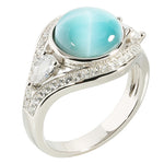 Sterling Silver CZ Eye Shape Larimar Ring w/CZ Around