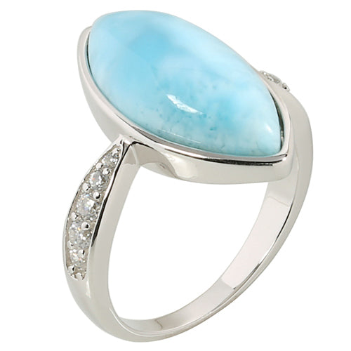 Sterling Silver Eye Shape Larimar Ring