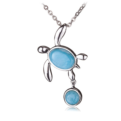 Stering Silver Honu(Turtle) Hanging Round Larimar Pendant(Chain Sold Separately)