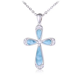 Sterling Silver Larimar Pave Cubic Zirconia Cross Pendant(Chain Sold Separately)