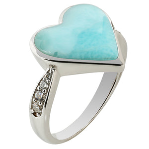 Sterling Silver Heart Shape Larimar Ring