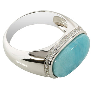 Sterling Silver Rectangle Larimar Ring with CZ Edge