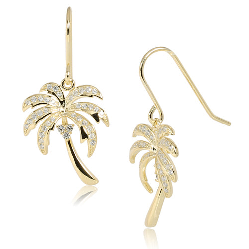 Sterling Silver Pave CZ Palm Tree Hook Earring Yellow Gold Plated
