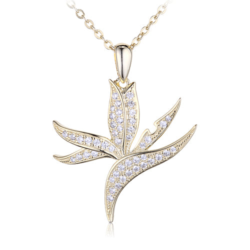 Sterling Silver Yellow Gold Plated Pave Cubic Zirconia Bird of Paradise Pendant