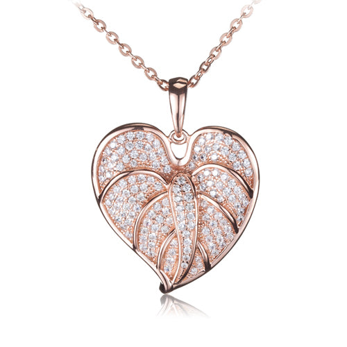 Sterling Silver Anthurium Leaf Pendant Pink Gold Plated Pave CZ(Chain Sold Separately)
