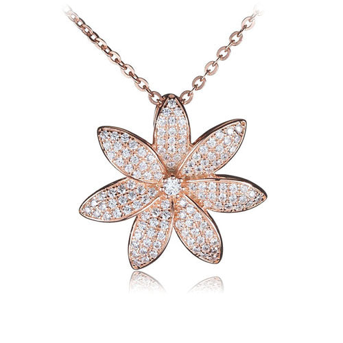 Sterling Silver Pink Gold Plated Pave Cubic Zirconia Tiare Pendant(Chain Sold Separately)