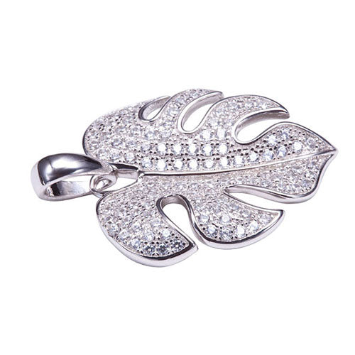 Sterling Silver Pave Cubic Zirconia Monstera Pendant(Chain Sold Separately)