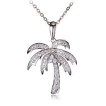 Sterling Silver Pave Cubic Zirconia Palm Tree Pendant(Chain Sold Separately)