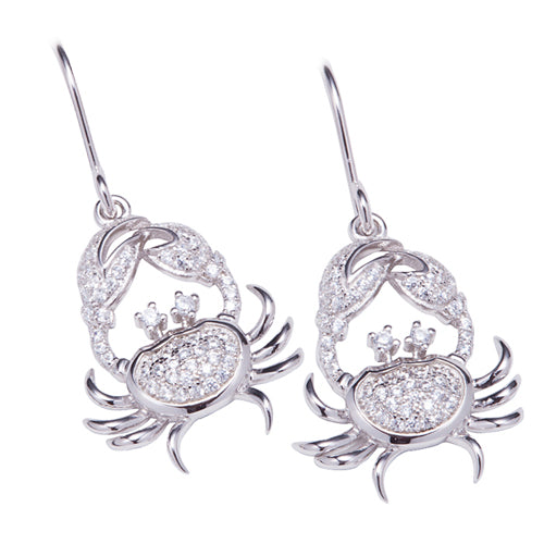 Sterling Silver Pave Cubic Zirconia Moving Crab Hook Earring