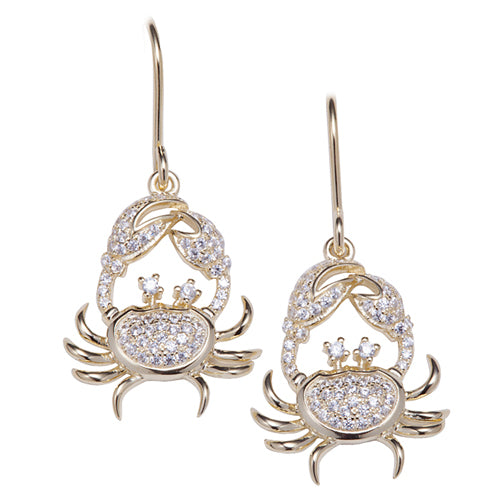Sterling Silver Yellow Gold Plated Pave Cubic Zirconia Moving Crab Hook Earring