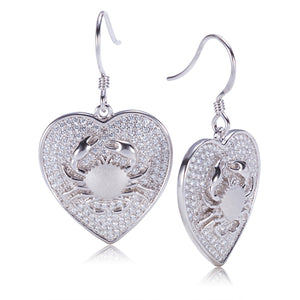 Sterling Silver Pave Cubic Zirconia Crab in Heart Hook Earring