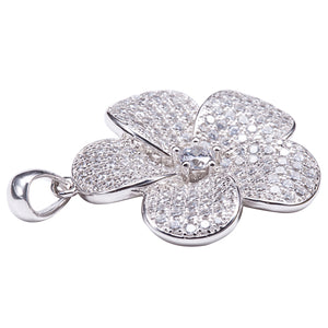 Sterling Silver Pave Cubic Zirconia Plumeria Pendant(Chain Sold Separately)