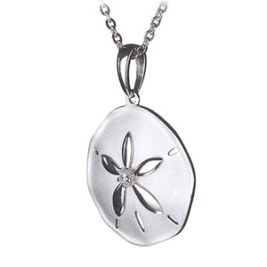 Sterling Silver Sand Dollar Pendant Sandblast Finished(Chain Sold Separately)