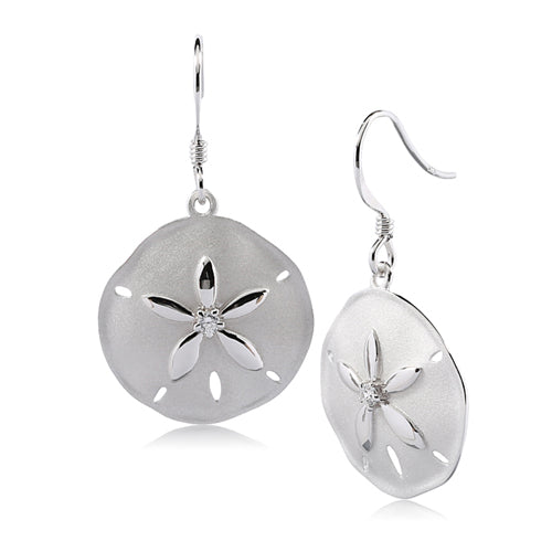 Sterling Silver Sand Dollar Hook Earring Sandblast Finished