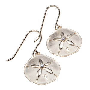 Sterling Silver Yellow Gold Plated Sand Dollar Hook Earring Sandblast Finished