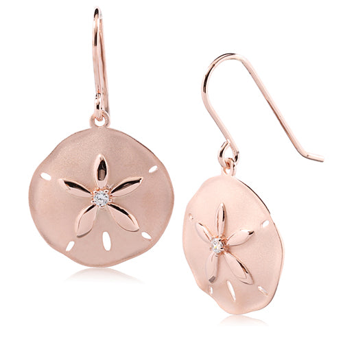 Sterling Silver Pink Gold Plated Sand Dollar Hook Earring Sandblast Finished