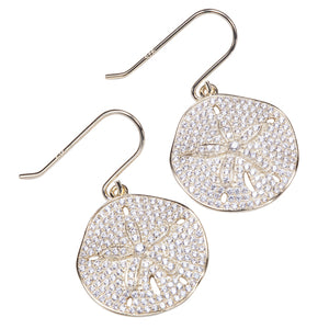 Sand Dollar Star Fish Pave Cubic Zirconia Sterling Silver Hook Earring Yellow Gold Plated