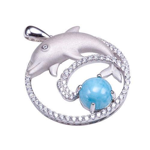 Sterling Silver Diving Dolphin Larimar Bead in Pave CZ Cirle Pendant(Chain Sold Separately)