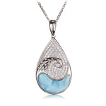 Water Drop Sterling Silver Pendant with Wave Shape Larimar Inlay and Pave Cubic Zirconia(Chain Sold Separately)
