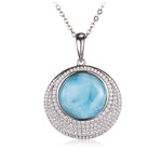 Sterling Silver Pave CZ Larimar Bead Inlay Circle Pendant(Chain Sold Separately)