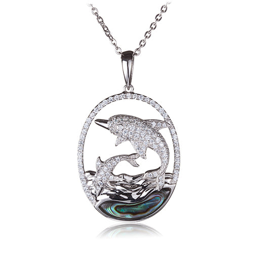 Diving Dolphins Abalone Inlay Wave in Sterling Silver Pave CZ Oval Pendant(Chain Sold Separately)