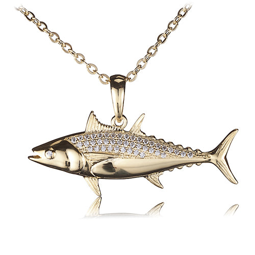 Sterling Silver Yellow Gold Plated Pave Cubic Zirconia Tuna Pendant(Chain Sold Separately)