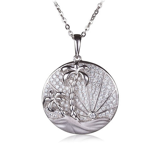 Sterling Silver Pave Cubic Zirconia Circle Island Sunrise Pendant(Chain Sold Separately)