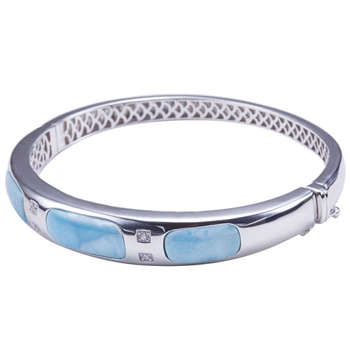 Larimar Sterling Silver Bangle Barrel Band with Pave Cubic Zirconia
