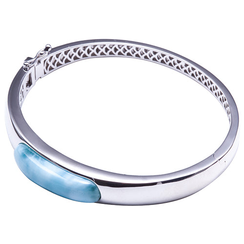 Larimar Sterling Silver Bangle Barrel Band