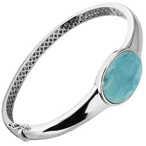 Sterling Silver Oval Larimar Bangle Bracelet
