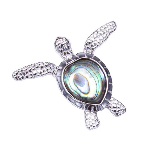 Sterling Silver Abalone Inlay Swimming Sea Turtle Pendant(Chain Sold Separately)