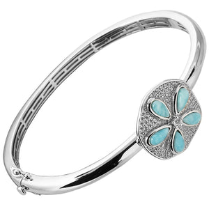 Sterling Silver Sand Dollar Larimar & CZ Inlaid Bangle