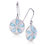 925 Sterling Silver Larimar Inlaid Sand Dollar Hook Earring